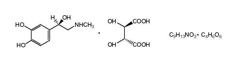 Epinephrine bitartrate structural formula