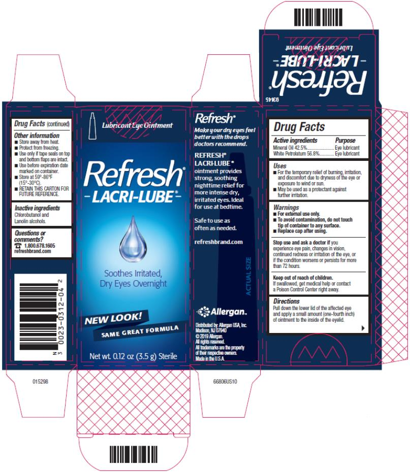 Refresh®  Lacri-Lube®  Lubricant Eye Ointment Ointment for nighttime dry eye relief Net wt. 0.12 oz (3.5 g) Sterile