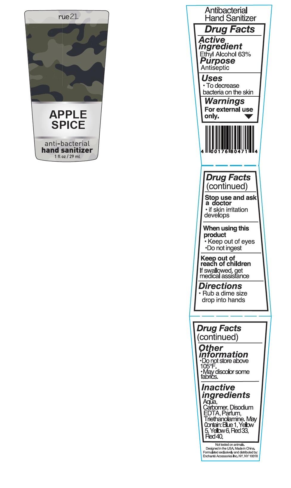 Rue21 Apple Spice Antibacterial Hand Sanitizer (Alcohol) Liquid [Enchante Accessories Inc. ]