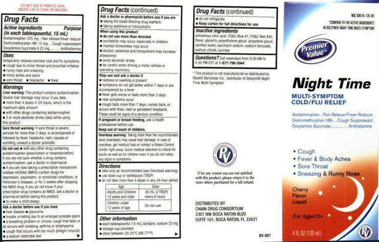 Night Time Multi-symptom Cold/flu Relief (Acetaminophen, Dextromethorphan Hydrobromide, Doxylamine Succinate) Liquid [Chain Drug Consortium, Llc]