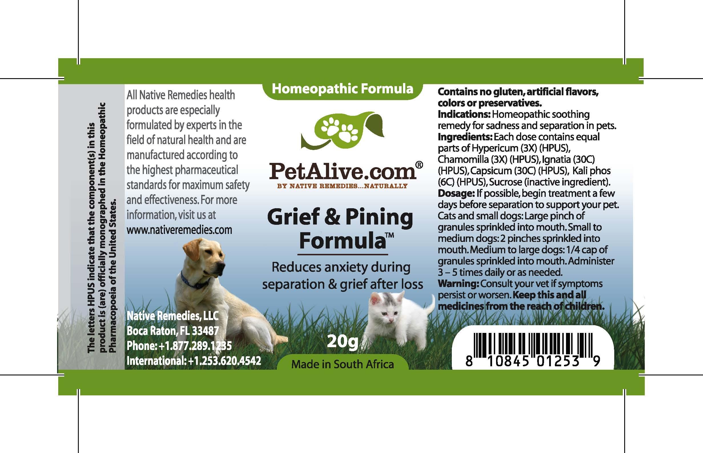 Grief And Pining Formula (Hypericum, Chamomilla, Ignatia, Capsicum, Kali Phos) Granule [Feelgood Health]