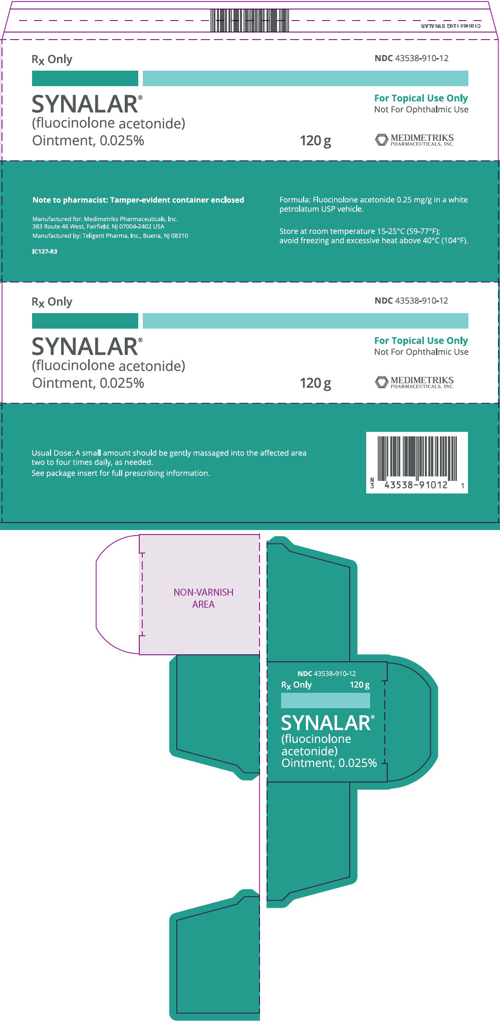 Synalar (Fluocinolone Acetonide) Ointment Synalar (Fluocinolone Acetonide ) Kit [Medimetriks Pharmaceuticals, Inc.]