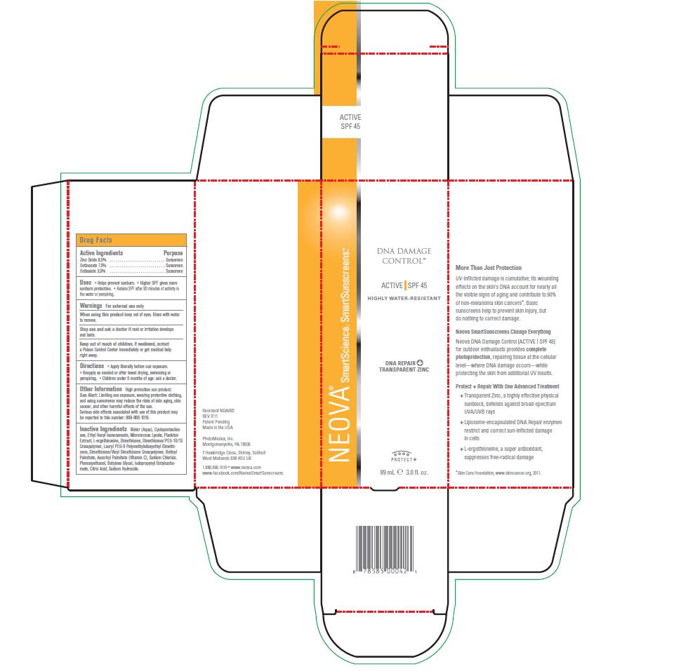 Neova Dna Damage Control – Active Spf 45 (Zinc Oxide, Octinoxate, Octisalate) Emulsion [Photomedex, Inc.]