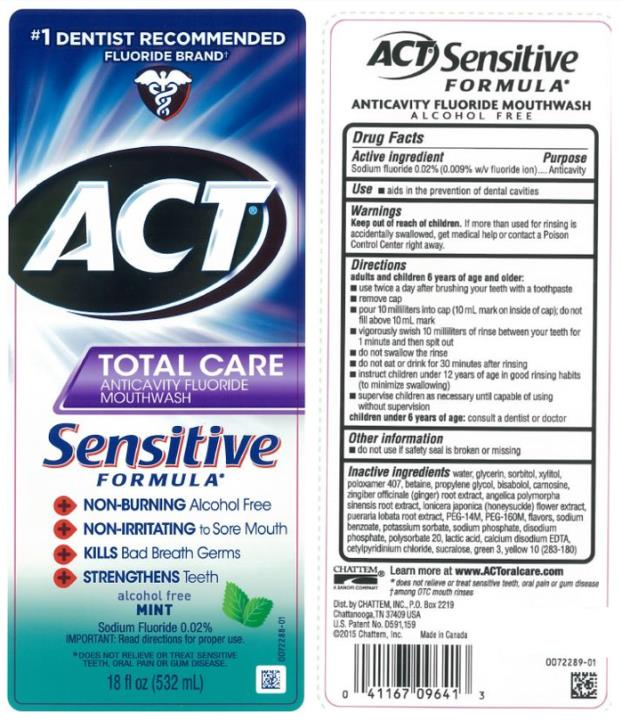 #1 DENTIST RECOMMENDED FLUORIDE BRAND ACT®  TOTAL CARE ANTICAVITY FLUORIDE MOUTHWASH Sensitive FORMULA Sodium Fluoride 0.02% alcohol free MINT 18 fl oz (532 mL)