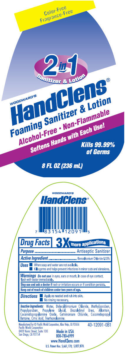 Woodwards Handclens Foaming Sanitizer Color And Fragrance Free (Benzalkonium Chloride) Liquid [Pacific Word Corporation]