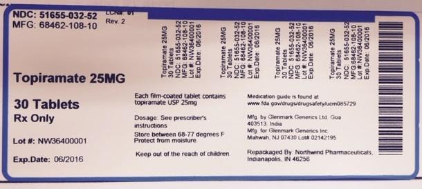 Topiramate Tablet, Film Coated [Northwind Pharmaceuticals, Llc]