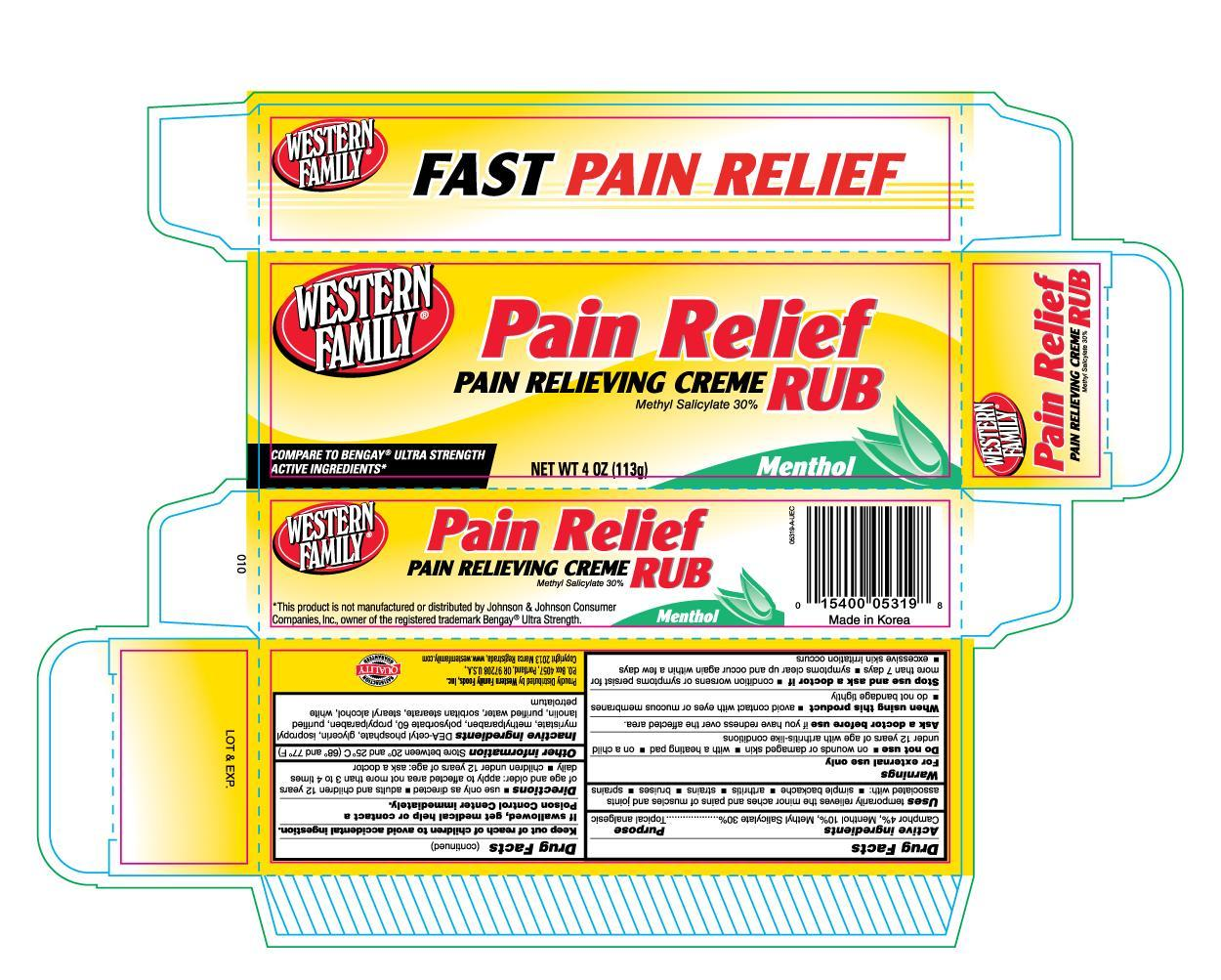 Western Family Pain Relieving (Camphor) Cream [Western Family Food, Inc.]