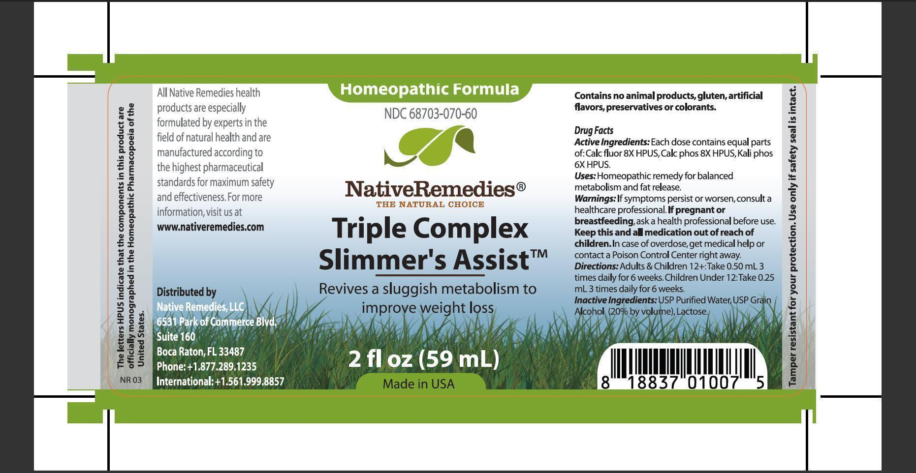 Triplecomplex Slimmers Assist (Calc Fluor, Calc Phos, Hali Phos) Tincture [Native Remedies, Llc]