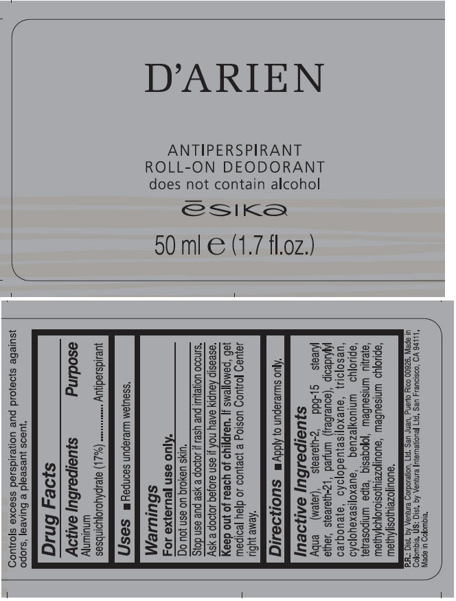 Darien Antiperspirant Roll-on Deodorant (Aluminum Sesquichlorohydrate) Liquid [Ventura Corporation Ltd.]