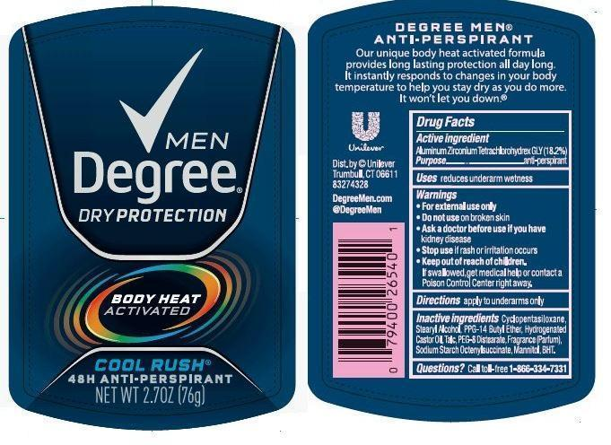 Degree Cool Rush Antiperspirant And Deodorant (Aluminum Zirconium Tetrachlorohydrex Gly) Stick [Conopco Inc. D/b/a Unilever]