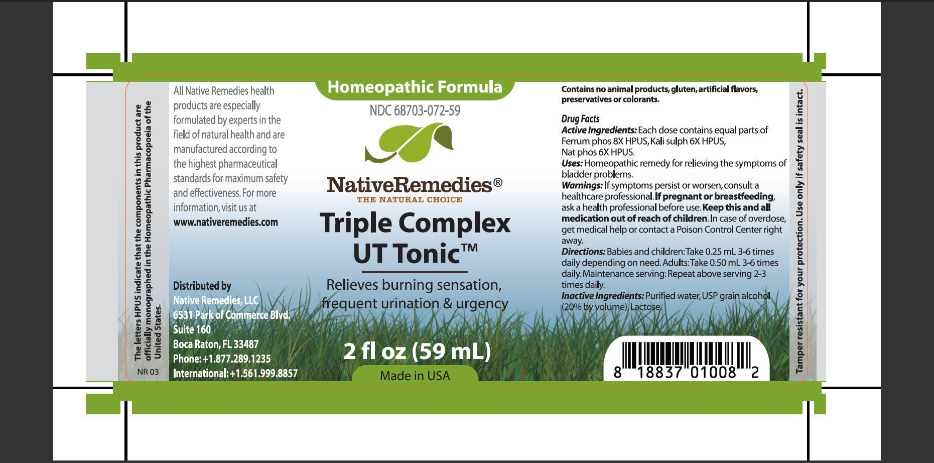 Triple Complex Ut Tonic (Ferrum Phos, Kali Sulp, Nat Phos) Tincture [Native Remedies, Llc]
