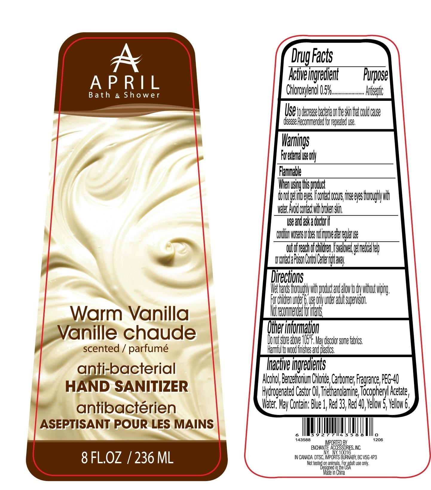 April Bath And Shower Warm Vanilla Scented Hand Sanitizer Anti-bacterial (Chloroxylenol) Liquid [Enchante Accessories Inc. ]
