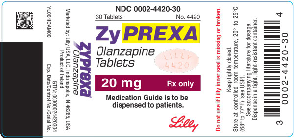 PACKAGE LABEL - ZYPREXA 20 mg tablet, bottle of 30, trade
