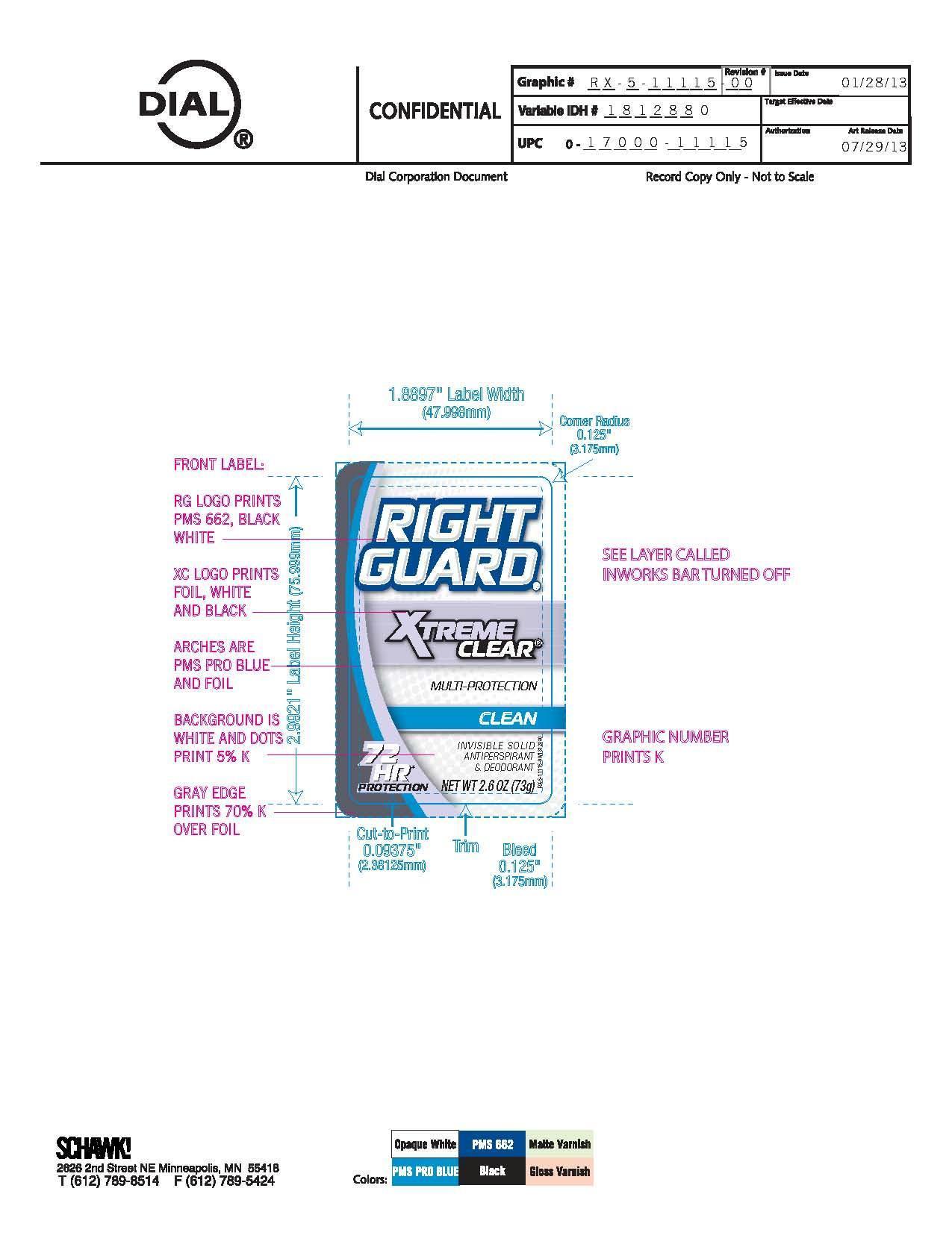 Right Guard Xtreme Clear Clean (Aluminum Zirconium Tetrachlorohydrex) Stick [Vvf Illinois Services Llc]