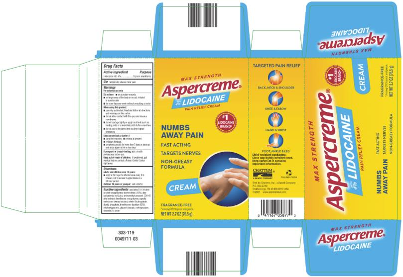 Aspercreme With Lidocaine Pain Relieving Creme (Lidocaine Hydrochloride) Lotion [Chattem, Inc.]