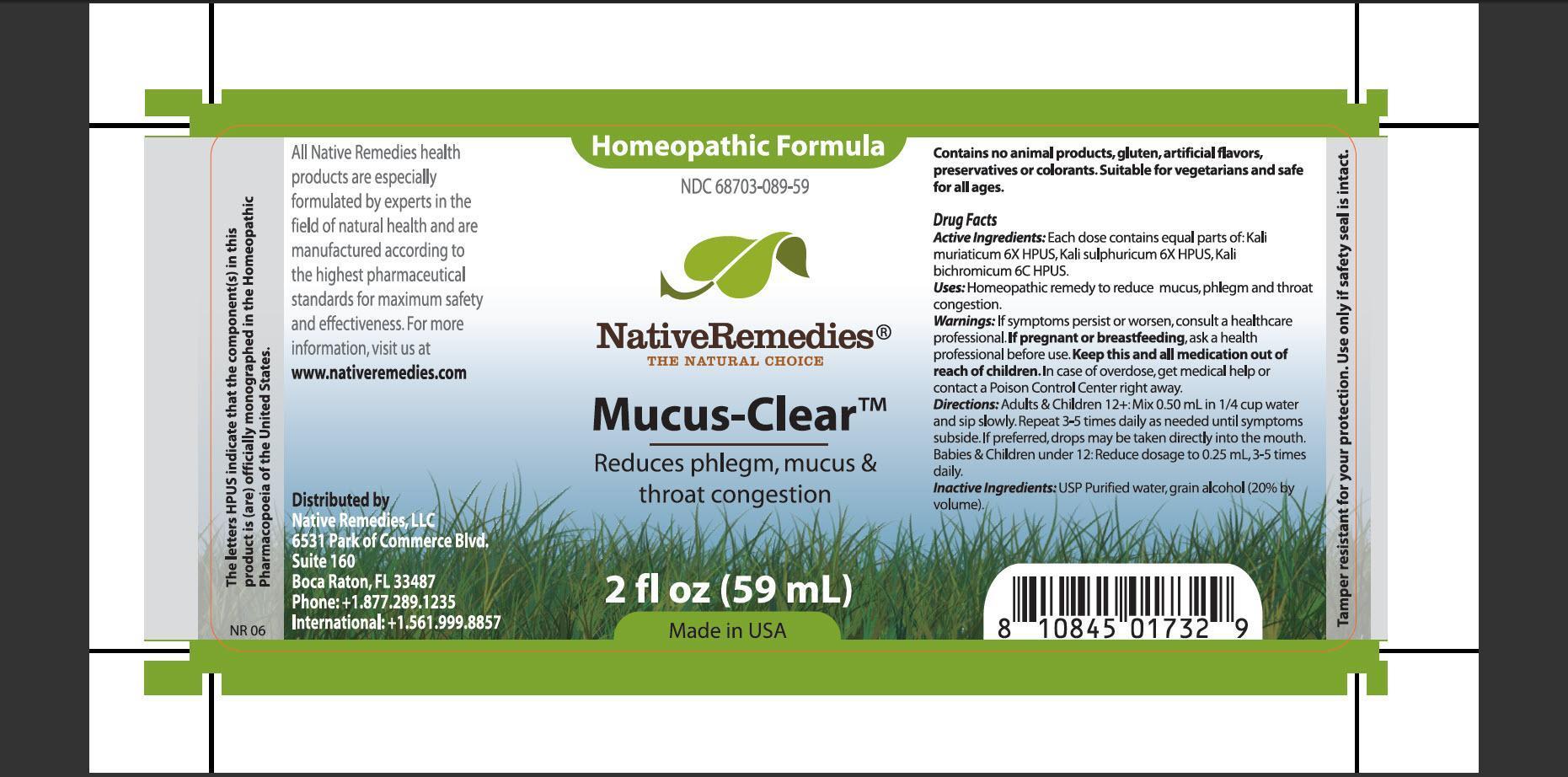 Mucus-clear (Kali Muriaticum, Kali Sulphuricum, Kali Bichromicum) Tincture [Native Remedies, Llc]