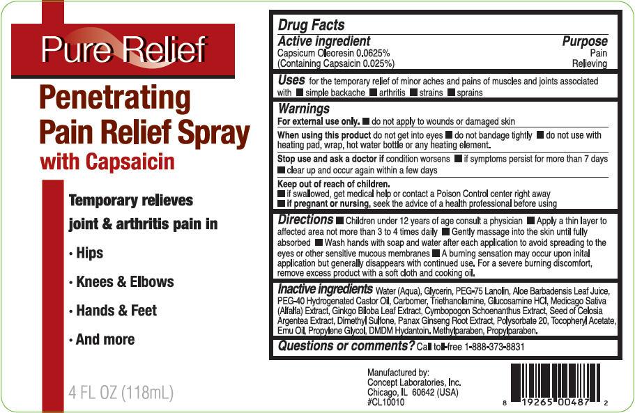 Pure Relief Penetrating Pain Relief (Capsaicin) Gel [Concept Laboratories, Inc.]