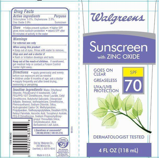 Walgreens Sunscreenspf 70 Spf 70 (Octocrylene Oxybenzone Zinc Oxide) Lotion [Walgreen Co.]
