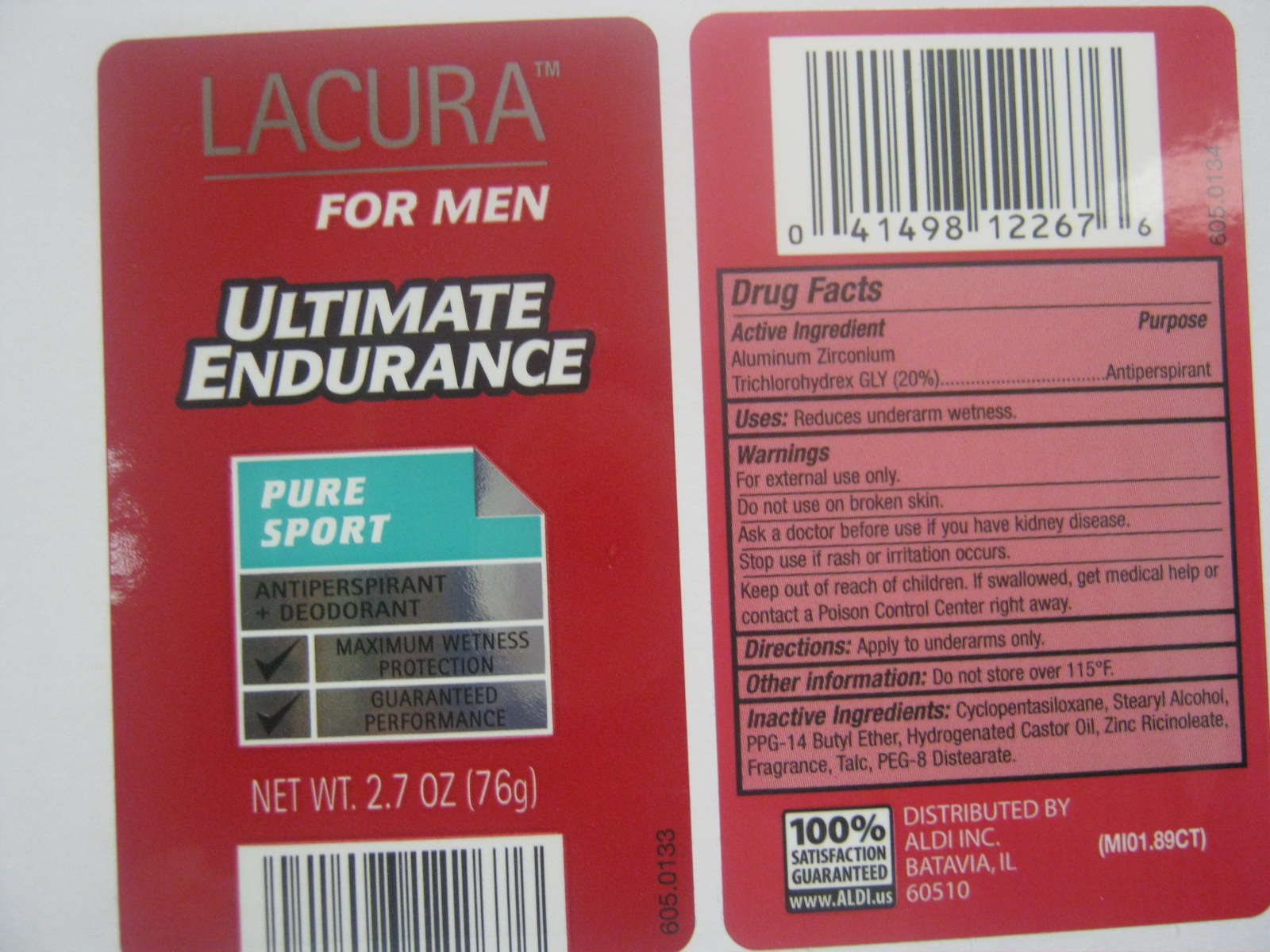 Lacura Ultimate Endurance Pure Sport Anti-perspirant Deodorant (Aluminum Zirconium Trichlorohydrex Gly) Stick [Vvf Kansas Services Llc]