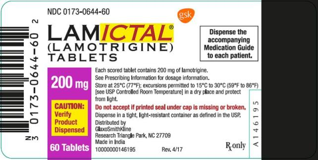 Lamictal 200mg 60 count label
