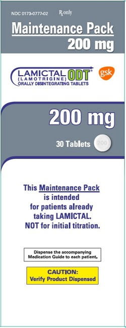 Lamictal ODT 200 mg 30 count maintenance pack carton