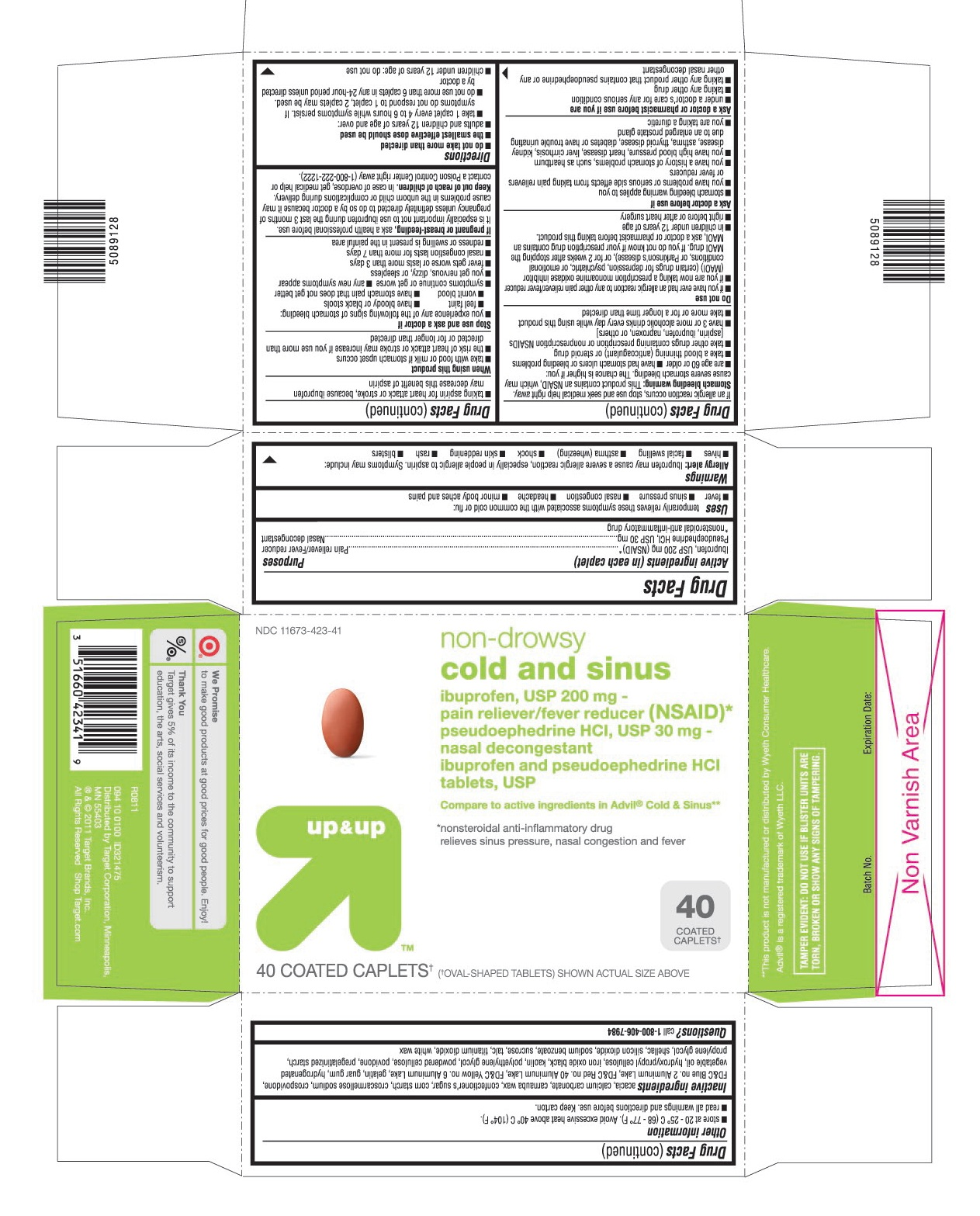 This is the 40 count blister carton label for Target Ibuprofen and Pseudoephedrine HCl tablets, USP.