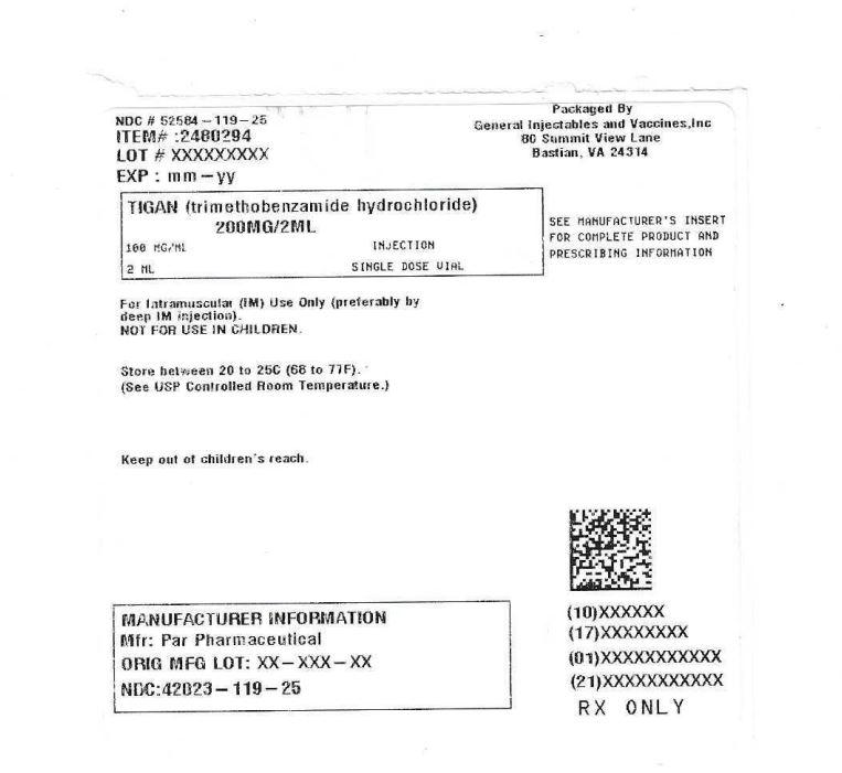 Tigan (Trimethobenzamide Hydrochloride) Injection, Solution [General Injectables & Vaccines, Inc]