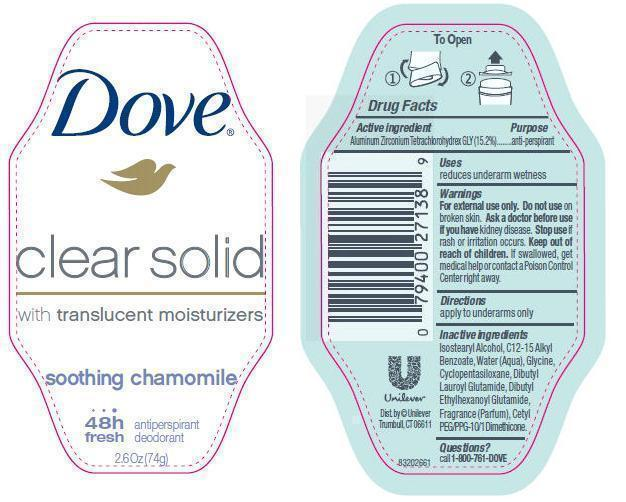 Dove Clear Solid Soothing Chamomile Antiperspirant And Deodorant (Aluminum Zirconium Tetrachlorohydrex Gly) Stick [Conopco Inc. D/b/a Unilever]