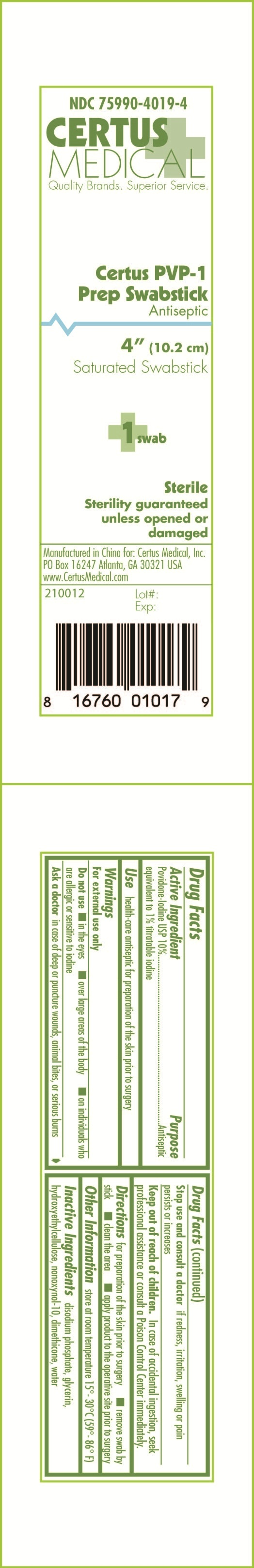 Certus Pvp-1 Prep Swabstick (Povidone-iodine) Swab [Certus Medical, Inc.]