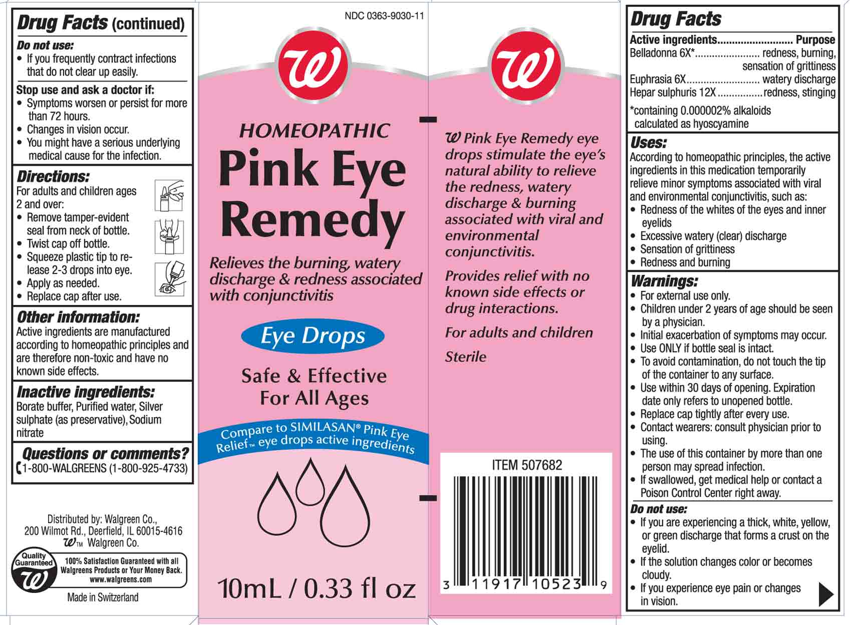 Pink Eye Remedy (Belladonna And Euphrasia And Hepar Sulphuris) Solution/ Drops [Walgreen Co]