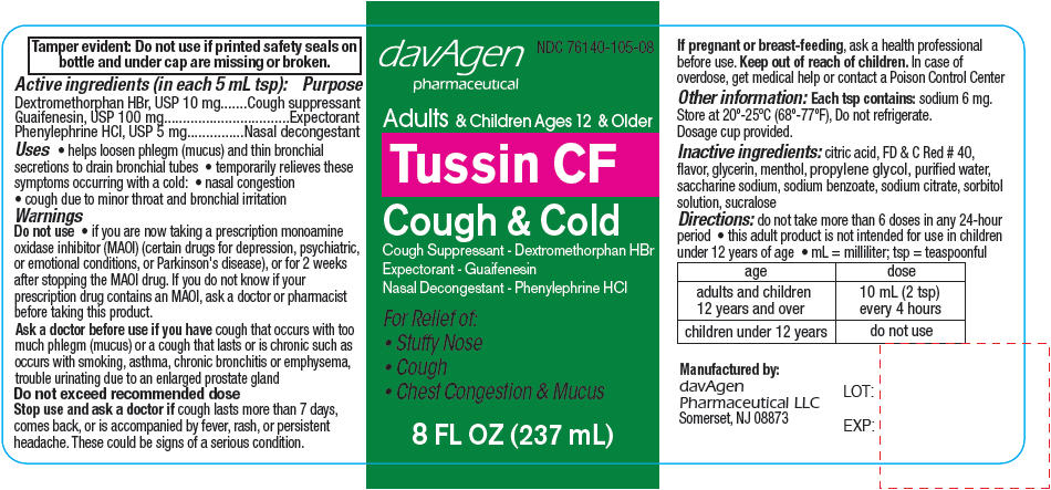 Tussin Cf (Dextromethorphan Hydrobromide, Guaifenesin, And Phenylephrine Hydrochloride) Liquid [Davagen Pharmaceutical, Llc]