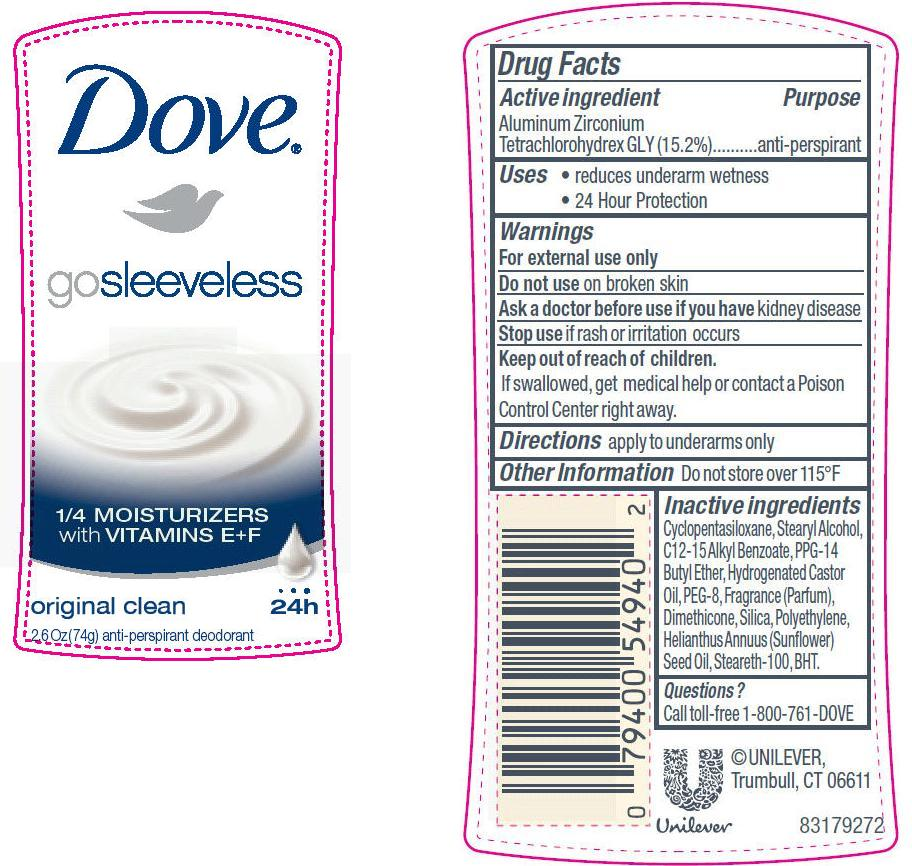 Dove Go Sleeveless Original Clean Antiperspirant And Deodorant (Aluminum Zirconium Tetrachlorohydrex Gly) Stick [Conopco Inc. D/b/a Unilever]