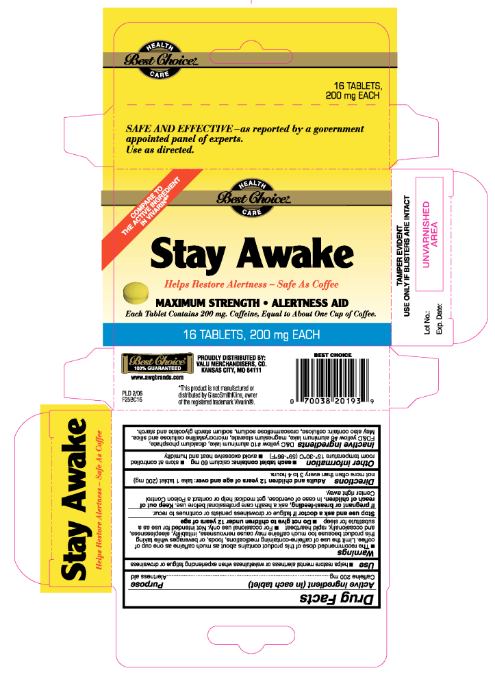 Stay Awake Maximum Strength (Caffeine) Tablet [Valu Merchandisers Company (Best Choice)]
