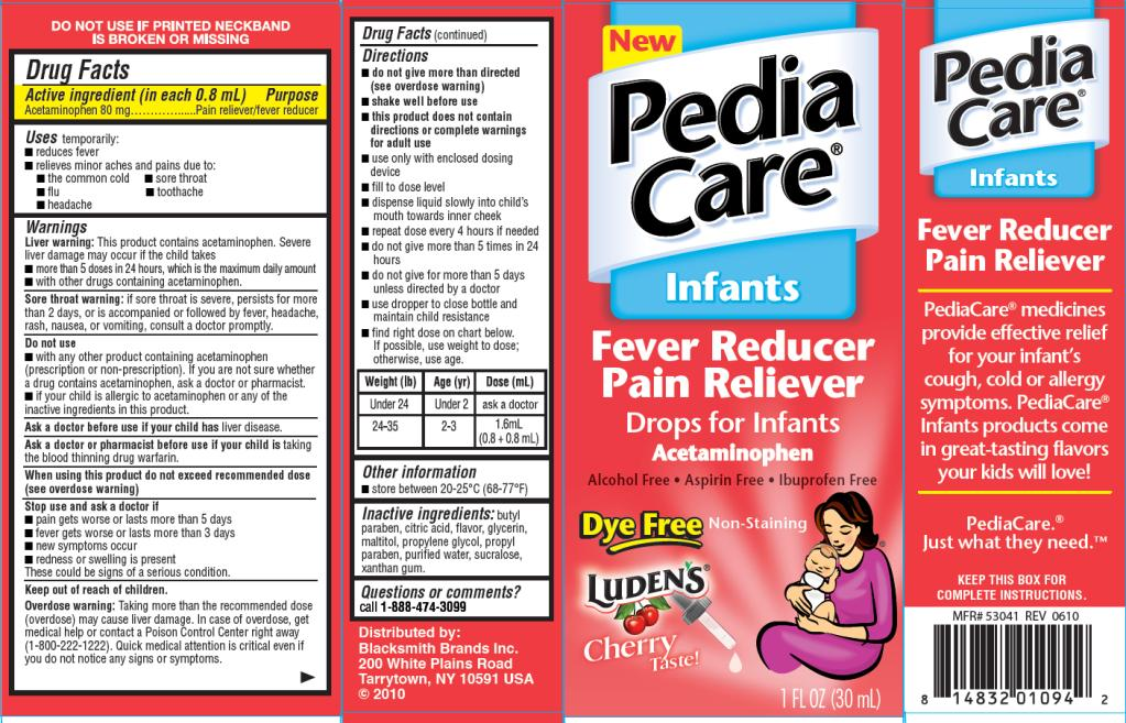 PRINCIPAL DISPLAY PANEL PediaCare Infants Fever Reducer Dye Free Cherry Flavor