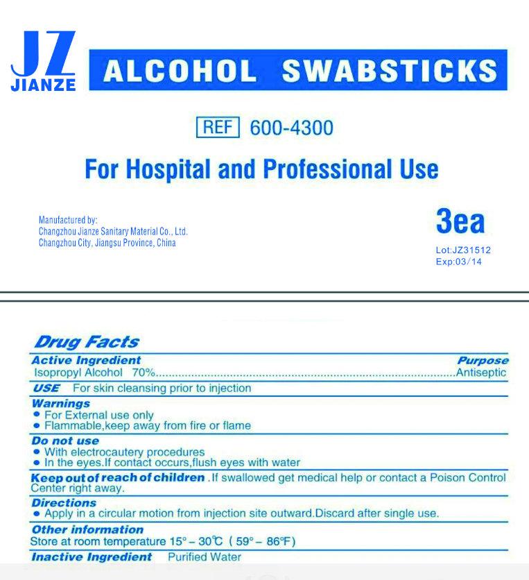 Jianze Alcohol (Isopropyl Alcohol) Swab [Changzhou Jianze Sanitary Material Co., Ltd.]