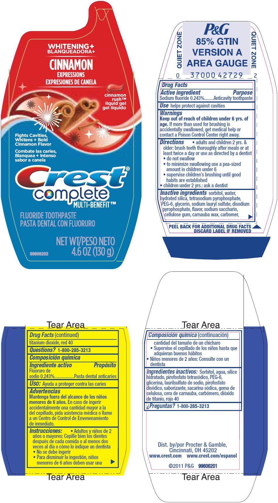 Crest Complete Multi-benefit Whitening Plus Cinnamon Expressions (Sodium Fluoride) Gel, Dentifrice [Procter & Gamble Manufacturing Company]