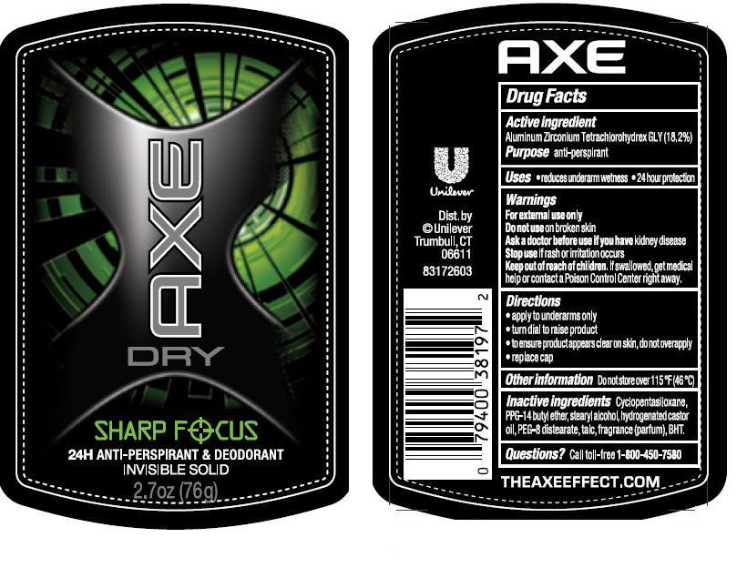 Axe (Aluminum Zirconium Tetrachlorohydrex Gly) Stick [Conopco Inc. D/b/a Unilever]