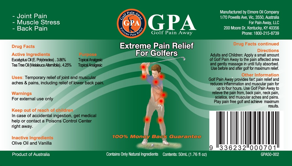 Golf Pain Away Gpa (Tea Tree Oil And Eucalyptus Oil) Oil [Elmore Oil Company Pty Ltd]