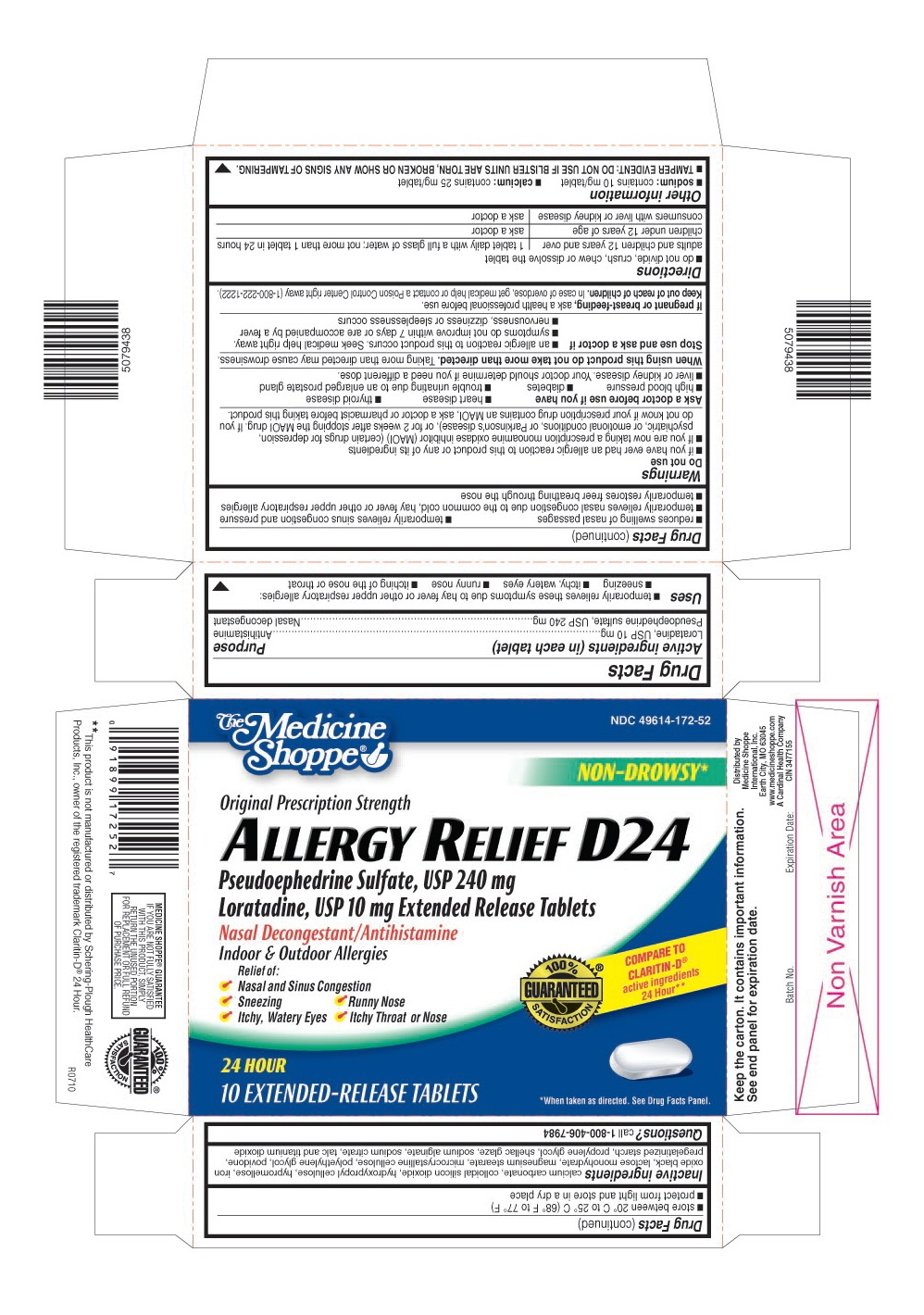 This is the blister carton label for Medicine Shoppe 10 count Allergy Relief D24 film coated, extended-release tablets.