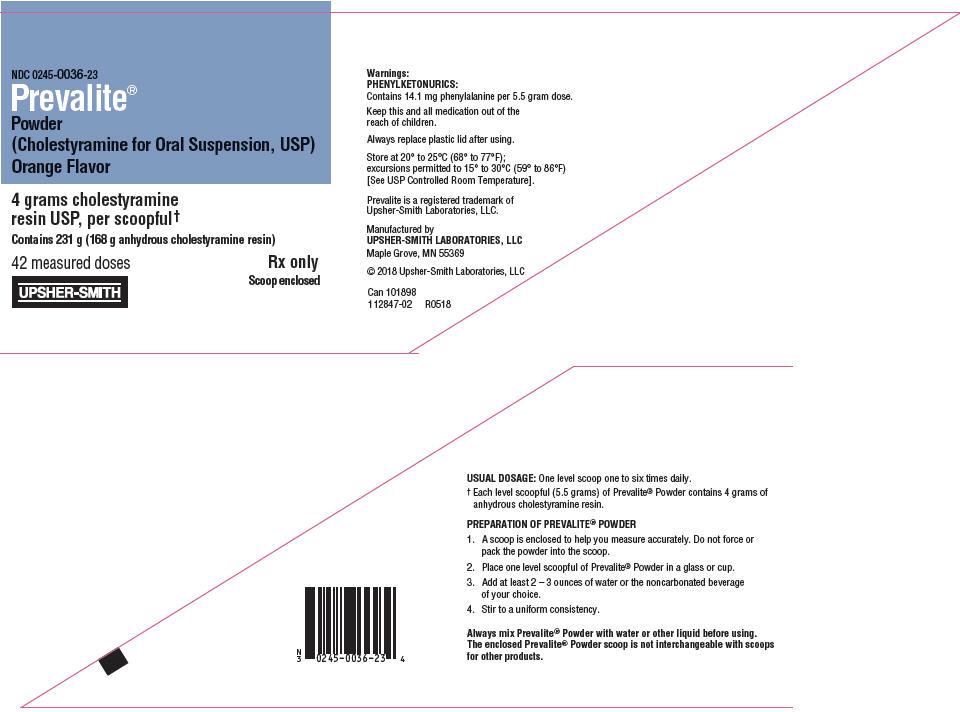 Prevalite (Cholestyramine) Powder, For Suspension [Upsher-smith Laboratories Inc.]