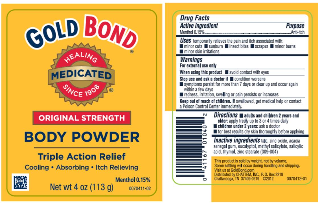 Gold Bond Original Strength (Menthol And Zinc Oxide) Powder Gold Bond Extra Strength (Menthol And Zinc Oxide) Powder [Chattem, Inc.]