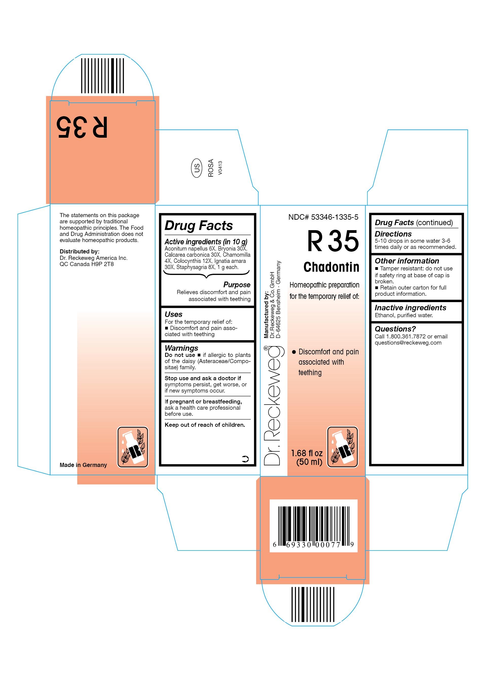 Dr. Reckeweg R35 Chadontin Combination Product (Aconitum Napellus 6x, Bryonia 30x, Calcarea Carbonica 30x, Chamomilla 4x, Colocynthis 12x, Ignatia Amara 30x, Staphysagria 8x) Liquid [Pharmazeutische Fabrik Dr. Reckeweg & Co]