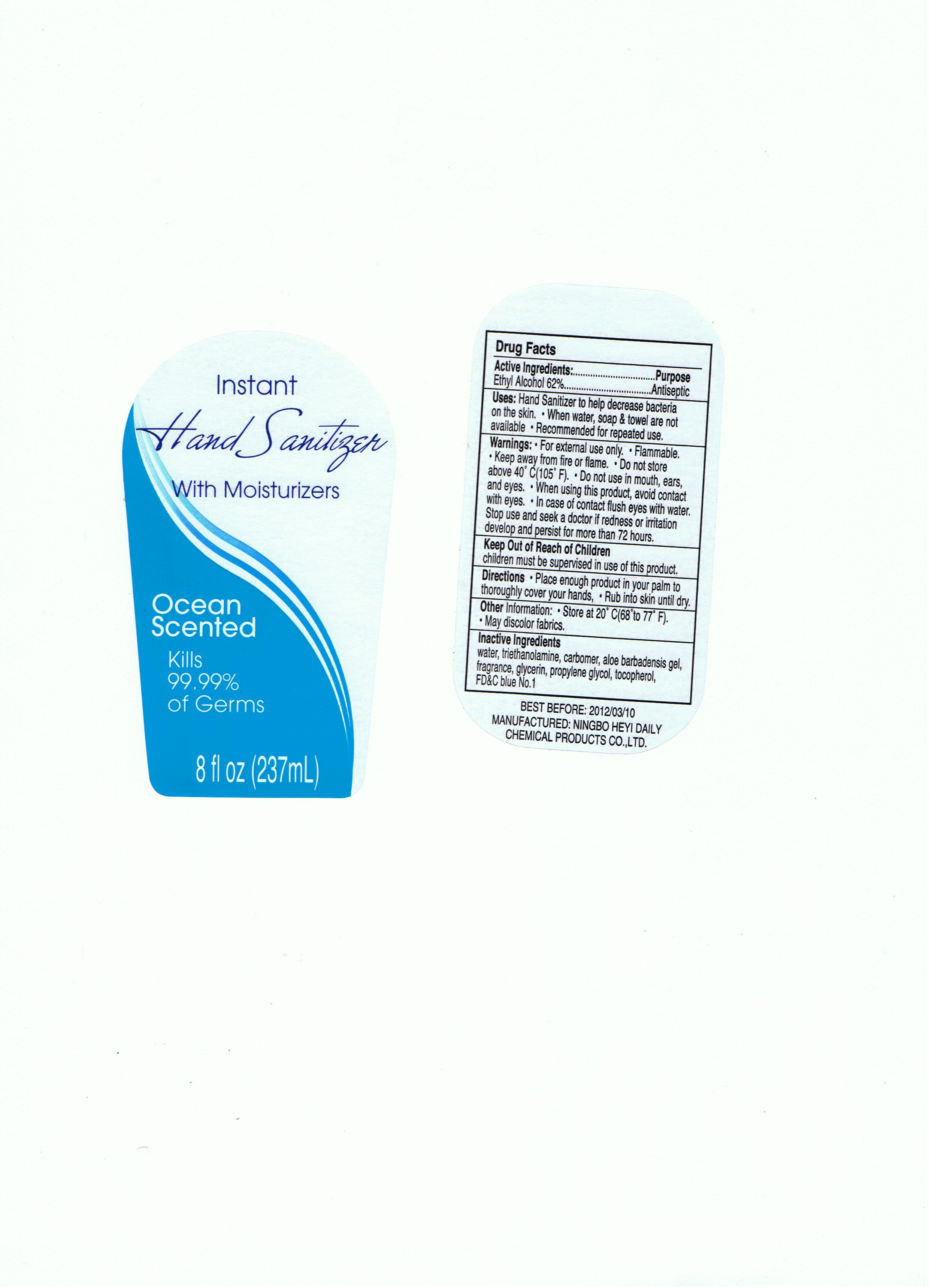 Instant Hand Sanitizer With Moisturizers Ocean Scented (Alcohol) Liquid [Ningbo Heyi Daily Chemical Products Co., Ltd.]