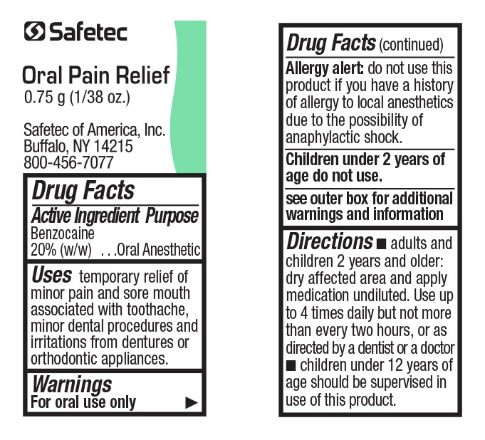 Principal Display Panel - Safetec Oral Pain Relief Packet Label