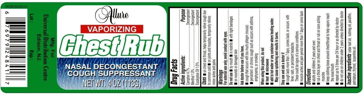 Allure Vaporizing Chest Rub (Menthol And Camphor And Eucalyptus Oil) Gel [ Universal Distribution Center Llc]