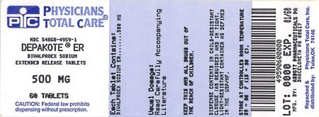 DEPAKOTE® ER DIVALPROEX SODIUM EXTENDED-RELEASE TABLETS 500 mg package label
