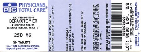 DEPAKOTE® ER DIVALPROEX SODIUM EXTENDED-RELEASE TABLETS 250 mg package label