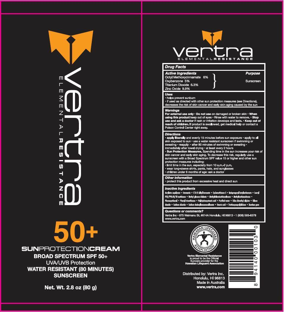Vertra Elemental Resistance Water Resistant Sunscreen (Octyl Methoxycinnamate, Oxybenzone, Titanium Dioxide, Zinc Oxide) Lotion [Vertra (Aust) Pty Ltd]