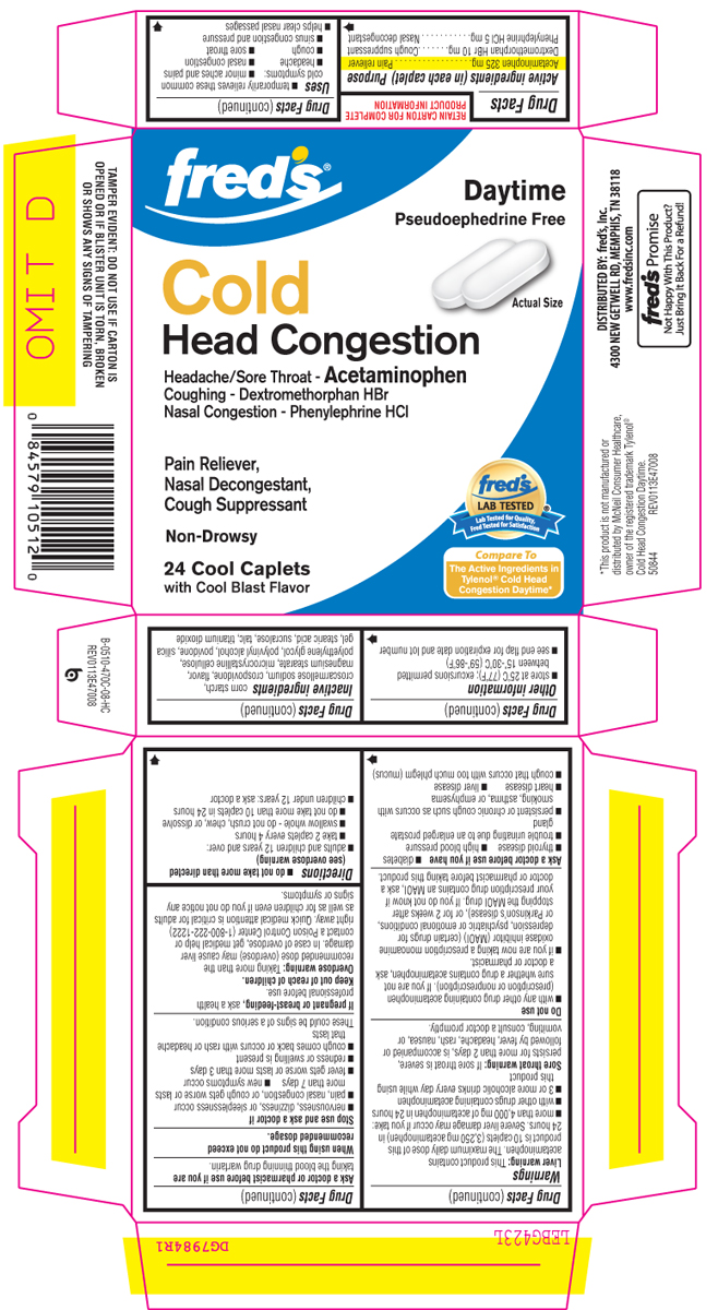 Cold Head Congestion Daytime (Acetaminophen, Dextromethorphan Hbr, Phenylephrine Hcl) Tablet [Fred's, Inc.]