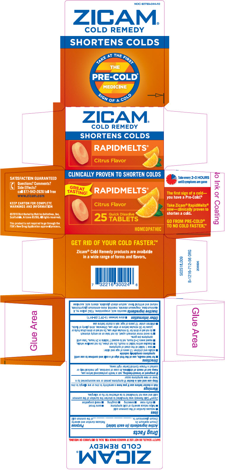 Zicam Cold Remedy Rapidmelts Citrus (Zinc Acetate Anhydrous And Zinc Gluconate) Tablet [Matrixx Initiatives, Inc.]